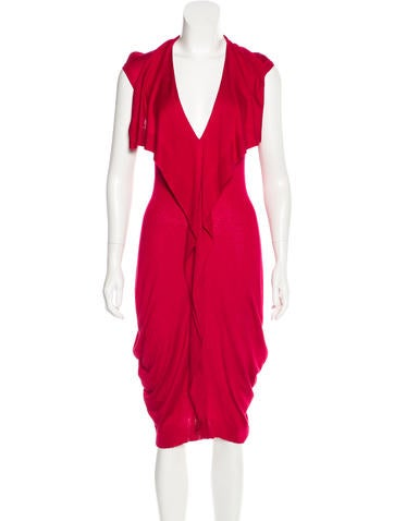 Alexander McQueen Ruffle-Trimmed Midi Dress None