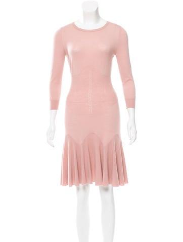 Alexander McQueen A-Line Wool Dress None