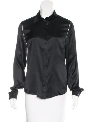 Alexander McQueen Silk Button-Up Top None