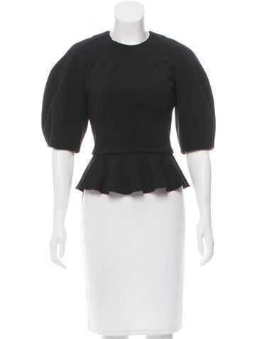 Alexander McQueen Wool Peplum Top None