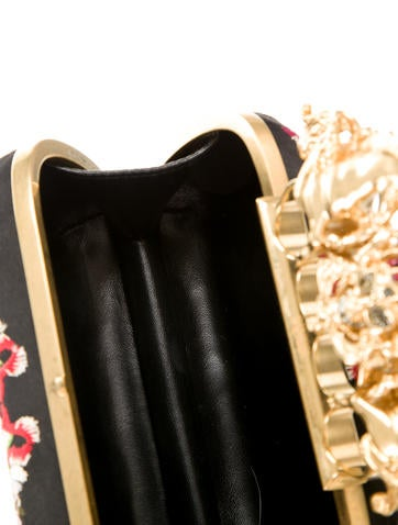 Embroidered Knuckle Box Clutch