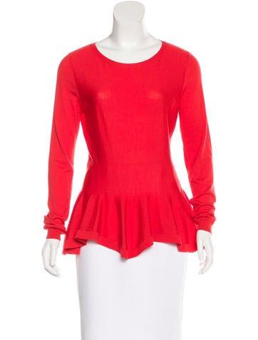 Alexander McQueen Wool Flounce-Hem Sweater None