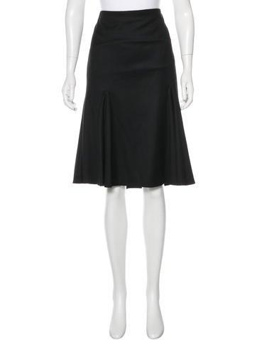 Alexander McQueen Wool Knee-Length Skirt None