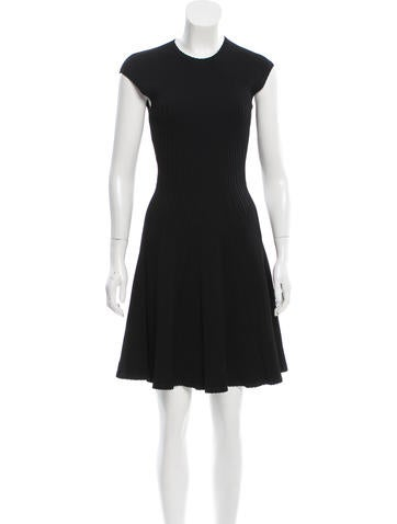 Alexander McQueen Rib Knit A-Line Dress None