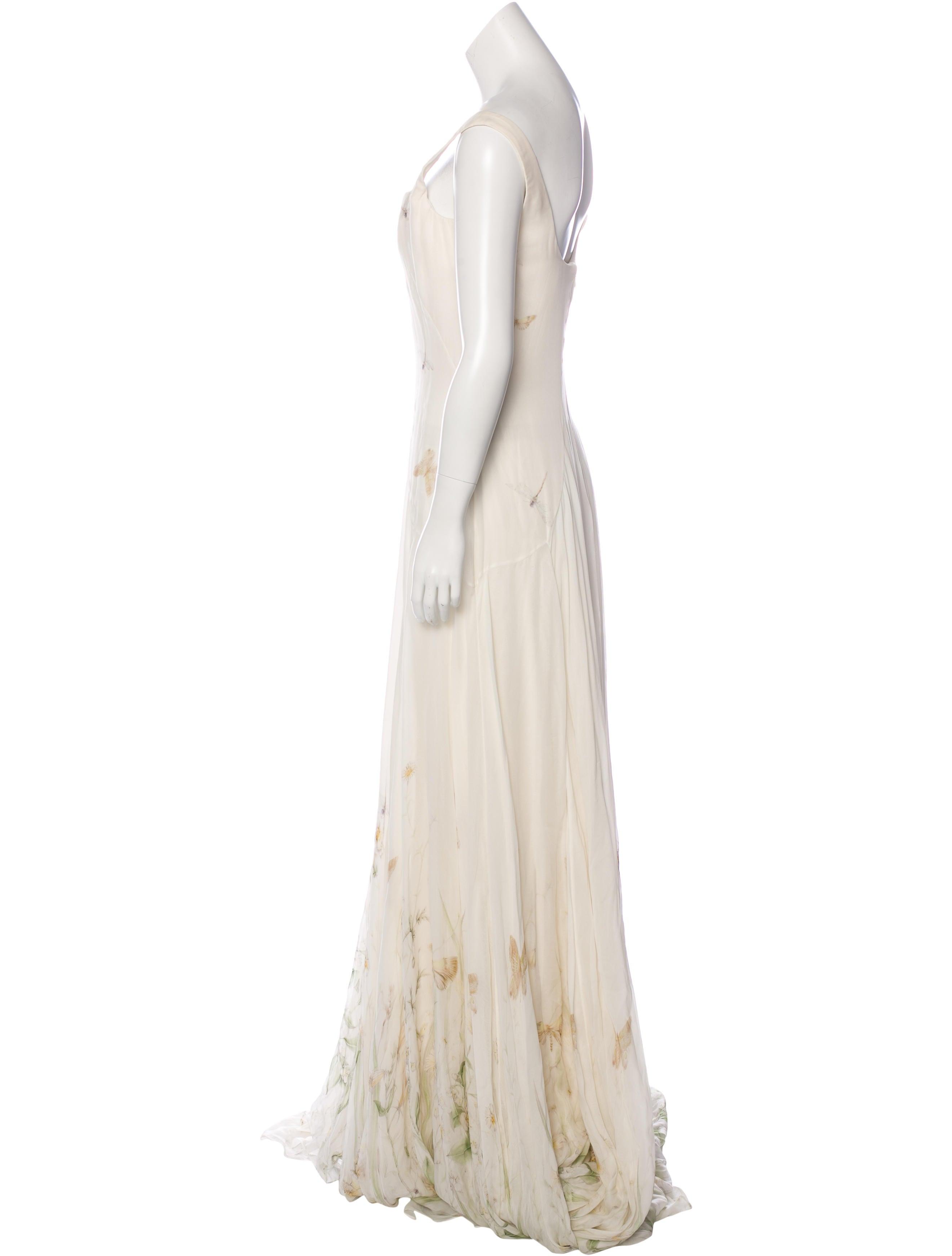 Alexander mcqueen silk meadow print gown dresses for Alexander mcqueen wedding dresses price