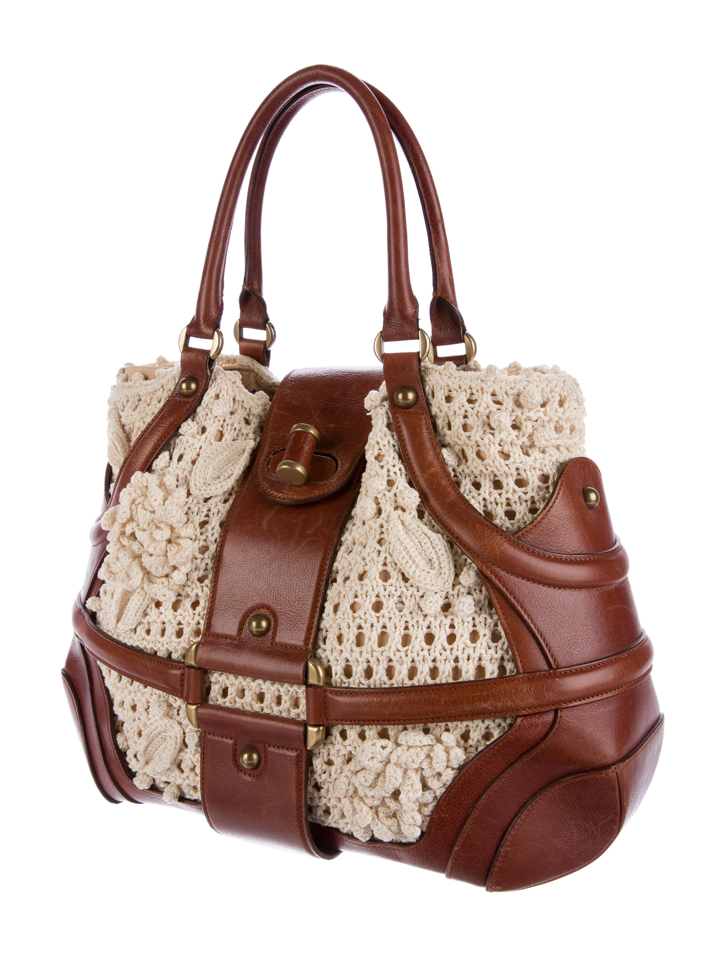 Alexander McQueen Crochet Handle Bag - Handbags - ALE37588 ...