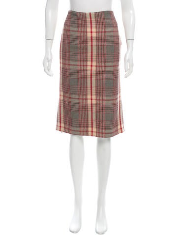 mcqueen knee length tartan skirt clothing