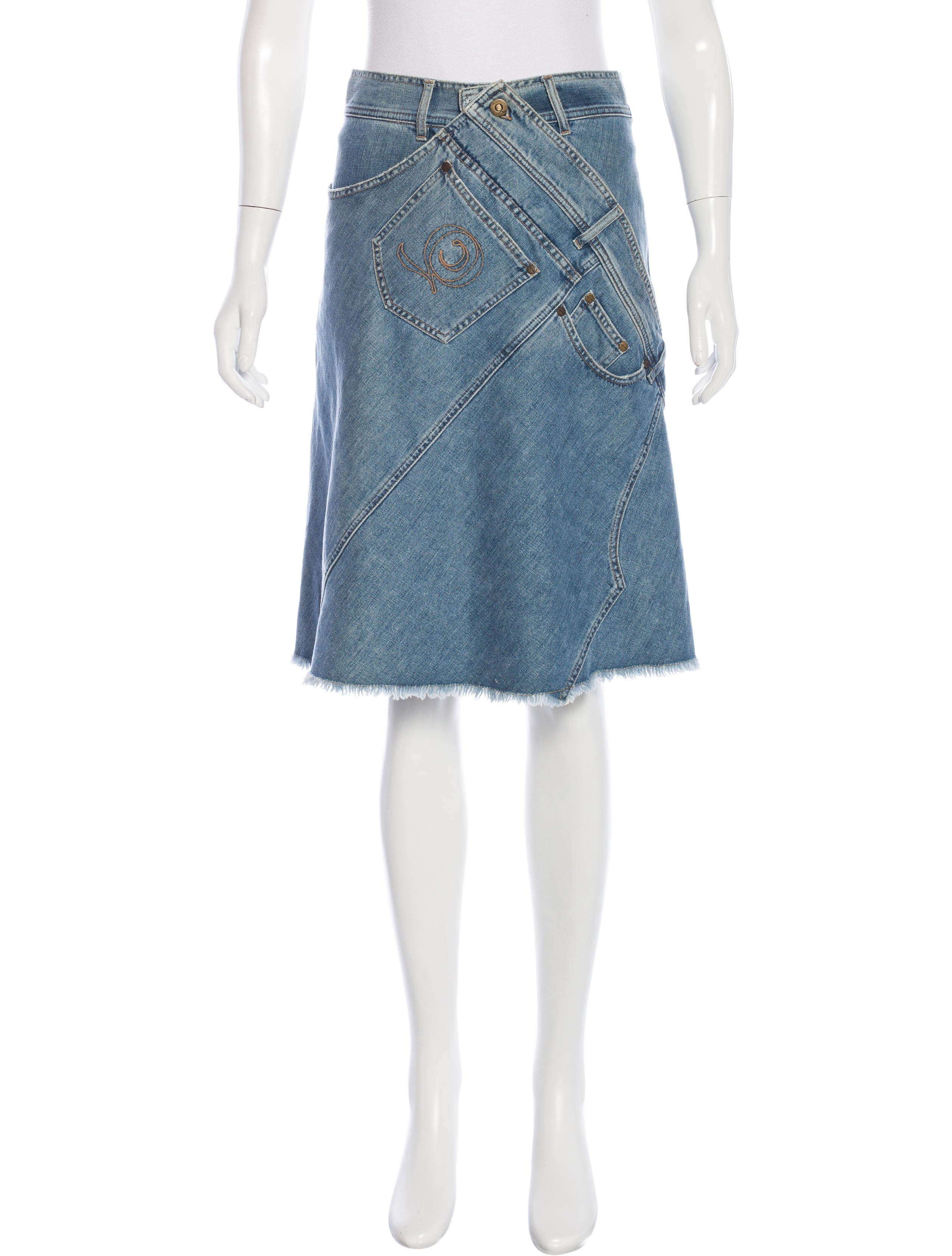 mcqueen denim knee length skirt clothing
