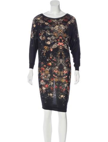 Alexander McQueen Floral Print Wool Dress None