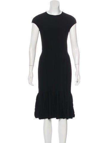 Alexander McQueen Wool Rib Knit Dress None