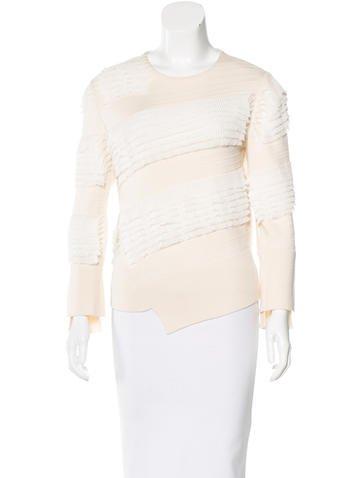 Alexander McQueen Ruffle-Trimmed Knit Sweater None
