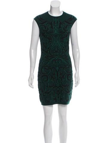 Alexander McQueen Wool-Blend Patterned Dress None