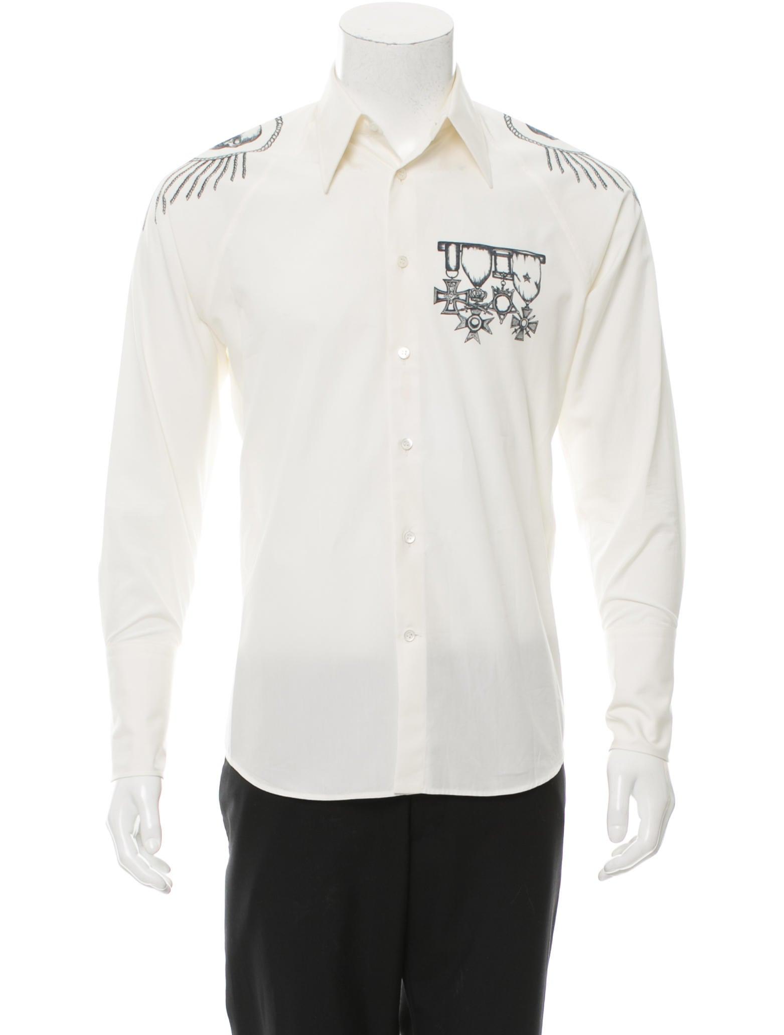 Alexander mcqueen skull print button up shirt clothing for Alexander mcqueen shirt men