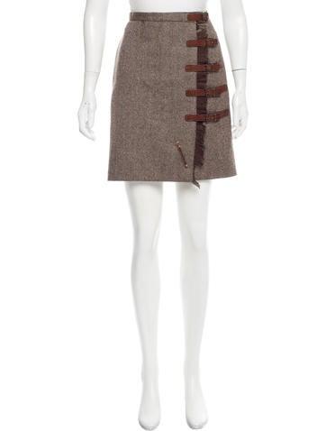 Alexander McQueen Tweed Wool Skirt None