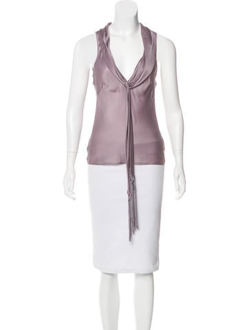 Alexander McQueen Silk Sleeveless Top None