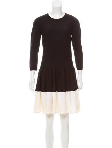 Alexander McQueen Wool Colorblock Dress None
