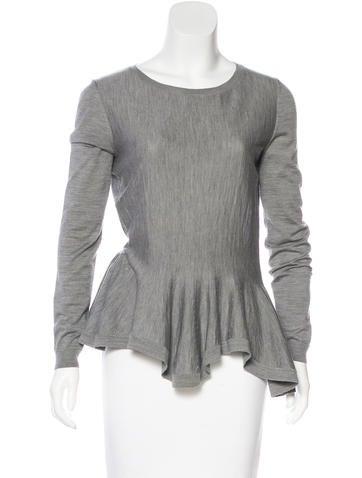 Alexander McQueen Wool Jersey Peplum Top None