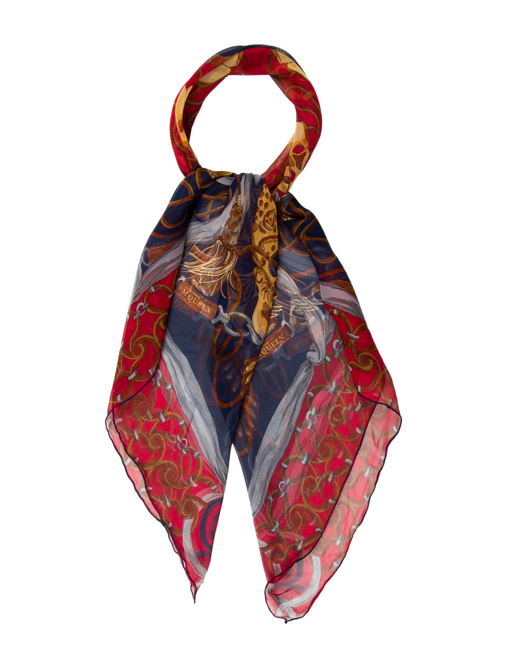 mcqueen silk skull print scarf accessories