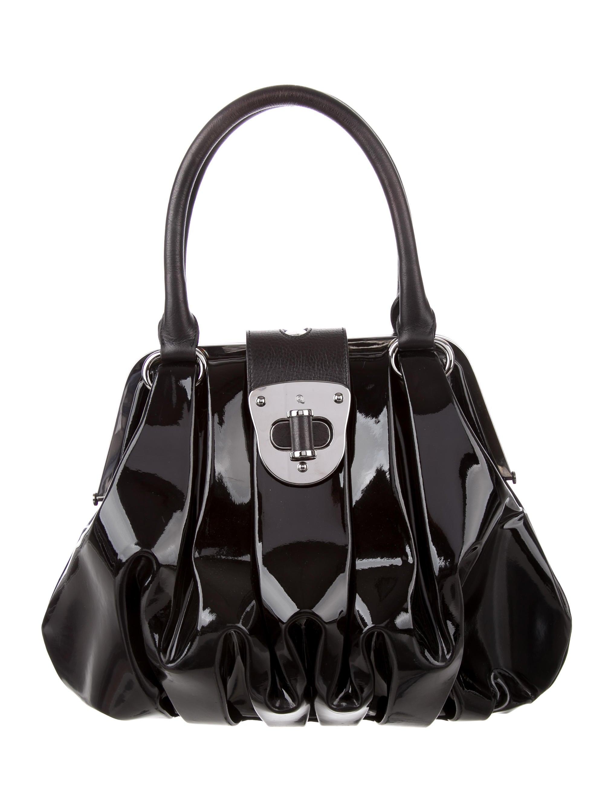 Alexander McQueen Patent Leather Elvie Bag - Handbags ...