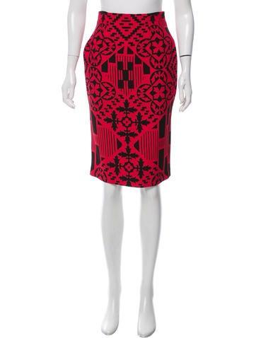 Alexander McQueen Printed Knee-Length Skirt None