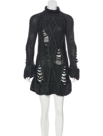 Alexander McQueen Cable Knit Wool Dress None