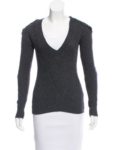 Alexander McQueen Vinyl-Accented Rib Knit Sweater None