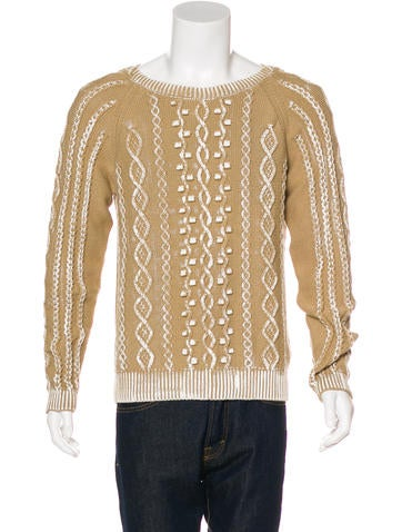 Alexander McQueen Painted Cable Knit Sweater None