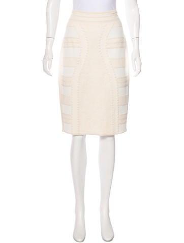 Alexander McQueen Textured Knee-Length Skirt None