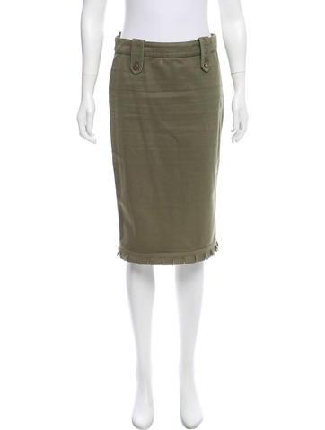 Alexander McQueen Knee-Length Denim Skirt None