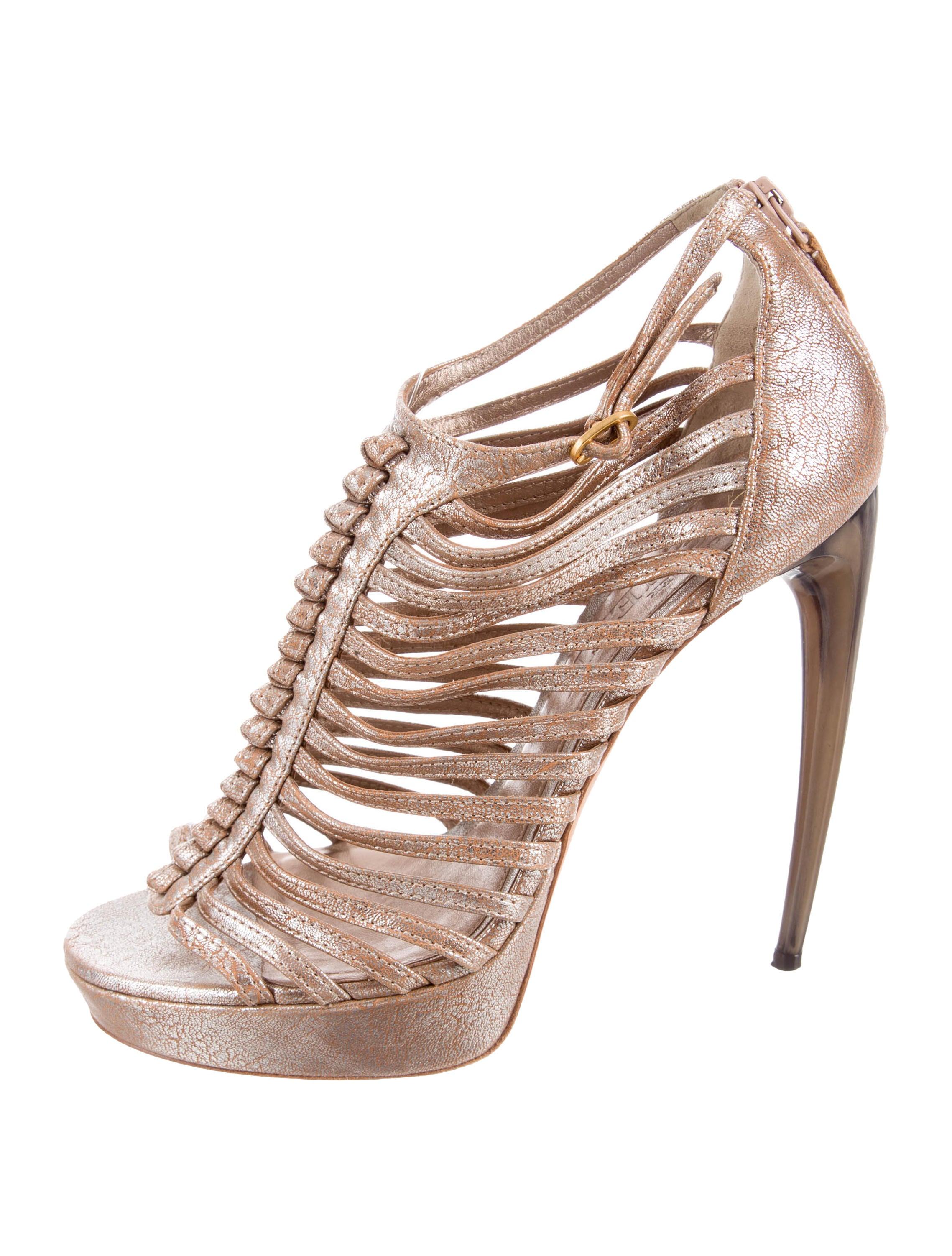 Cheap Sale Popular Lowest Price Online Cage sandals - Metallic Alexander McQueen Buy Cheap With Credit Card Discount Deals xiiihk