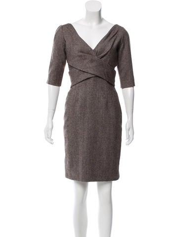 Alexander McQueen Tweed Wool Dress None