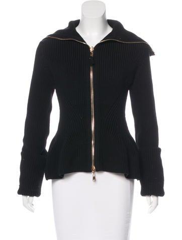 Alexander McQueen Wool Rib Knit Cardigan None
