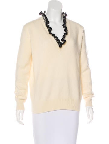 Alexander McQueen Ruffle-Trimmed Cashmere Sweater None