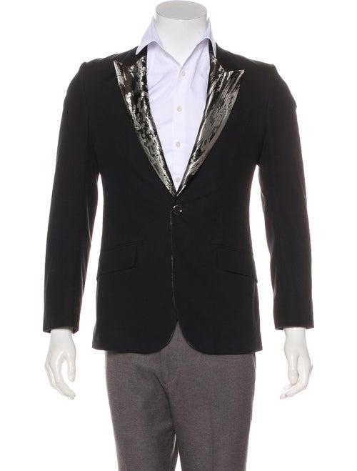 Alexander McQueen Brocade Lapel Suit Jacket black