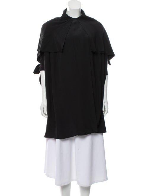 Alexander McQueen Silk Draped Coat Black