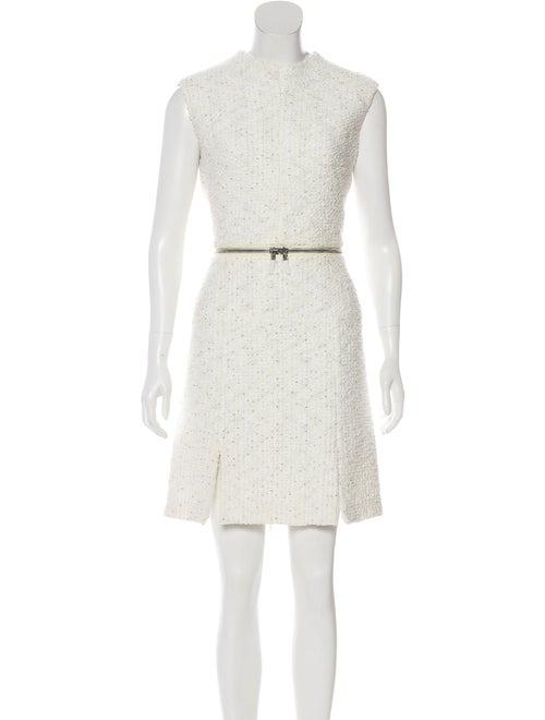 Alexander McQueen Sleeveless Tweed Dress White
