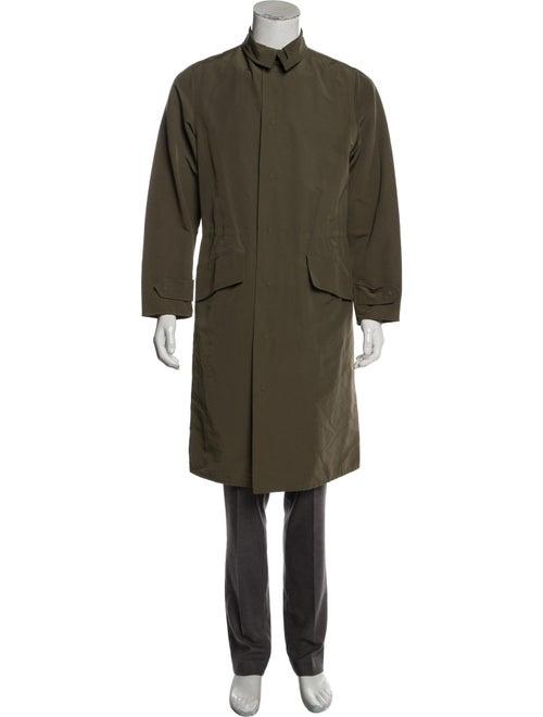 Alexander McQueen Woven Button-Up Coat olive