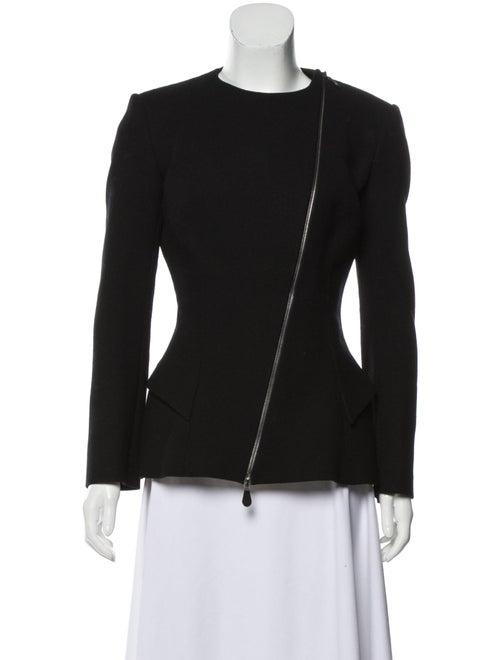 Alexander McQueen Wool Collarless Blazer Black