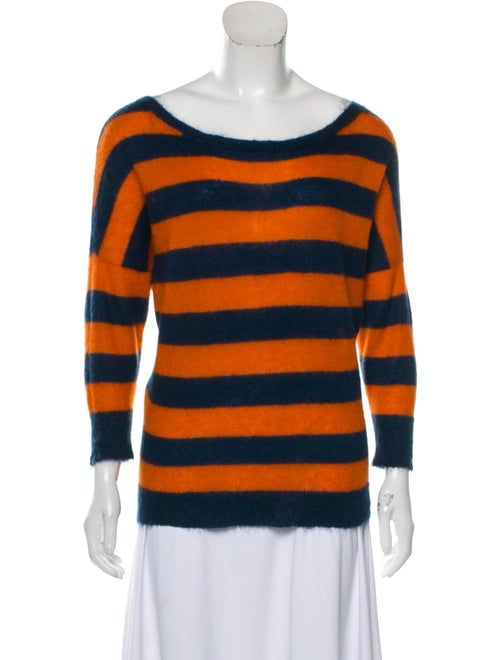 Alexander McQueen Striped Dolman Sweater Navy