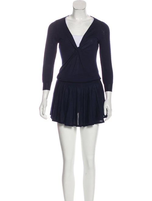 Alexander McQueen Flared Sweater Dress Navy