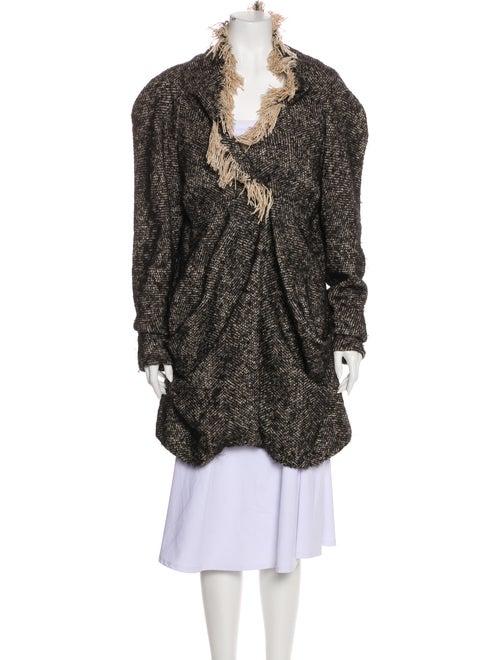 Alexander McQueen Tweed Pattern Coat Black