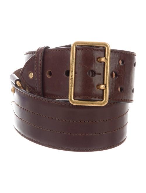 Alexander McQueen Leather Wide Belt Brown