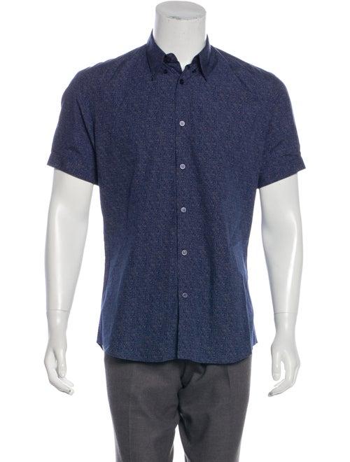 Alexander McQueen Patterned Short Sleeve Shirt blu
