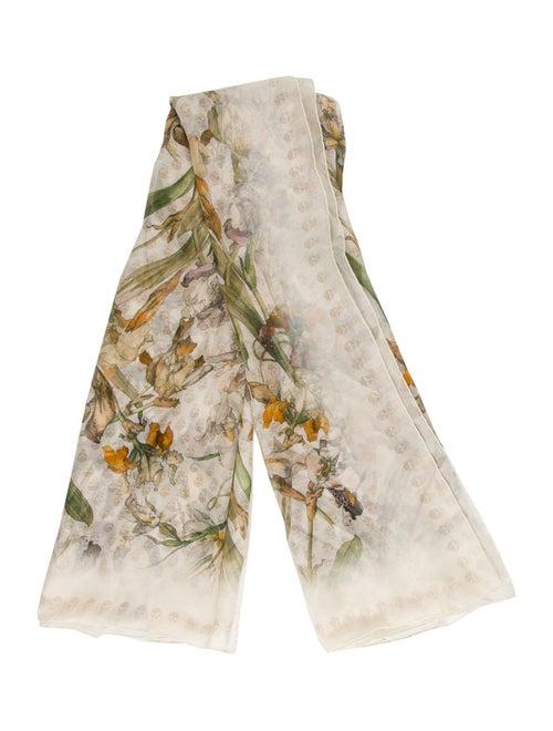 Alexander McQueen Silk Printed Scarf Beige