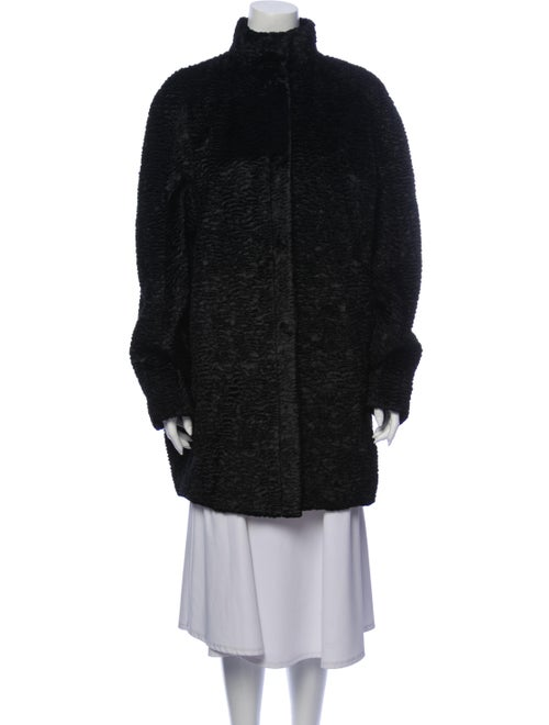 Alexander McQueen Faux Fur Coat Blue
