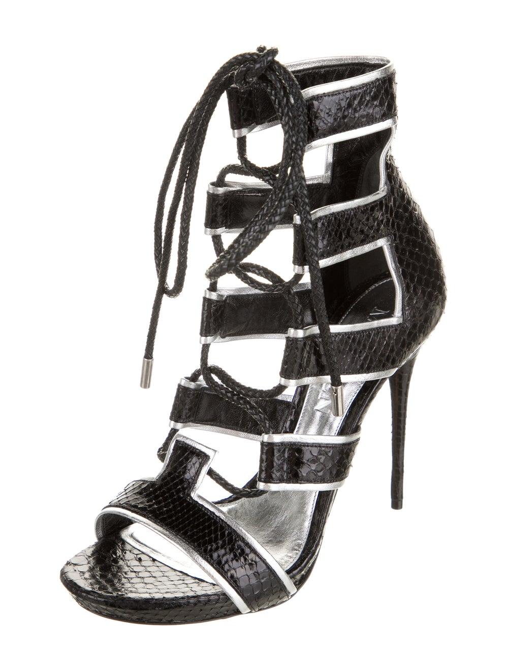 Alexander McQueen Snakeskin Platform Sandals Black - image 2