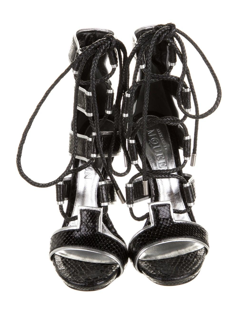 Alexander McQueen Snakeskin Platform Sandals Black - image 3