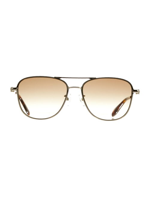 Alexander McQueen Metal Aviator Sunglasses Gold