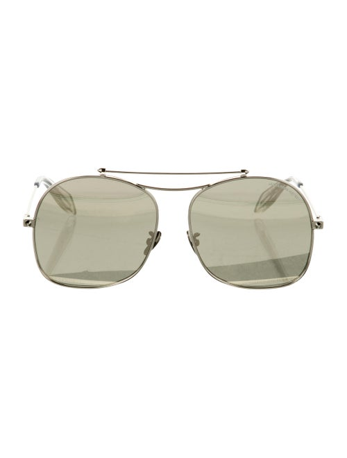 Alexander McQueen Mirrored Metal Sunglasses Silver