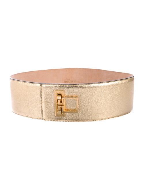 Alexander McQueen Metallic Wide Waist Belt Gold